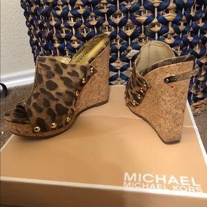 Michael Kors cheetah mule wedges